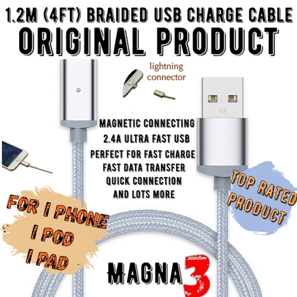 MAGNETIC HIGH POWER USB CHARGE LEAD AND CONNECTOR FOR APPLE PRODUCTS,  iPhone
